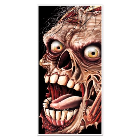 Halloween Zombie Door Cover 30in. x 5ft., (1/Pkg) Pkg/1 - Halloween Projector Zombies