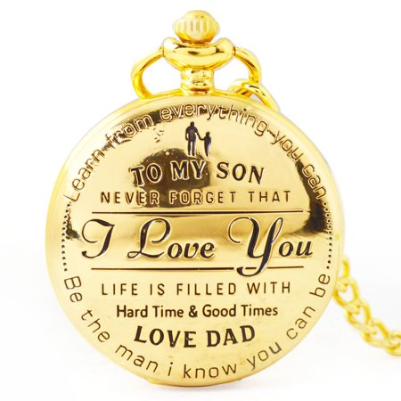 To My Son I You Retro Series Pocket Watch Quartz Watches Pendent Necklace Watch Chain Best Christmas Gift for Children ()