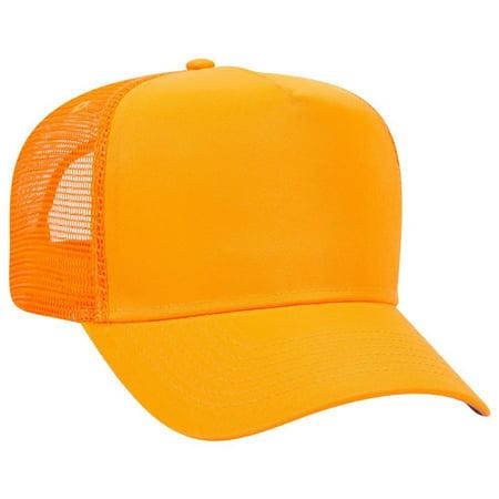 0a23b03b59e OTTO Neon Polyester Twill 5 Panel Pro Style Mesh Back Trucker Hat - N.  Orange - Walmart.com