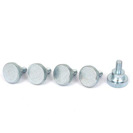 Uxcell M6x12mm Zinc Plated Metric Flat Knurled Head Thumb Machine Screws Bolts (5-pack)