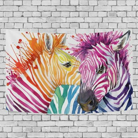 MYPOP Zebra Love Watercolor Tapestry Wall Decor Living Room Dorm Tapestries DIY 90 x 60 inches (Zebra Wall Tapestry)