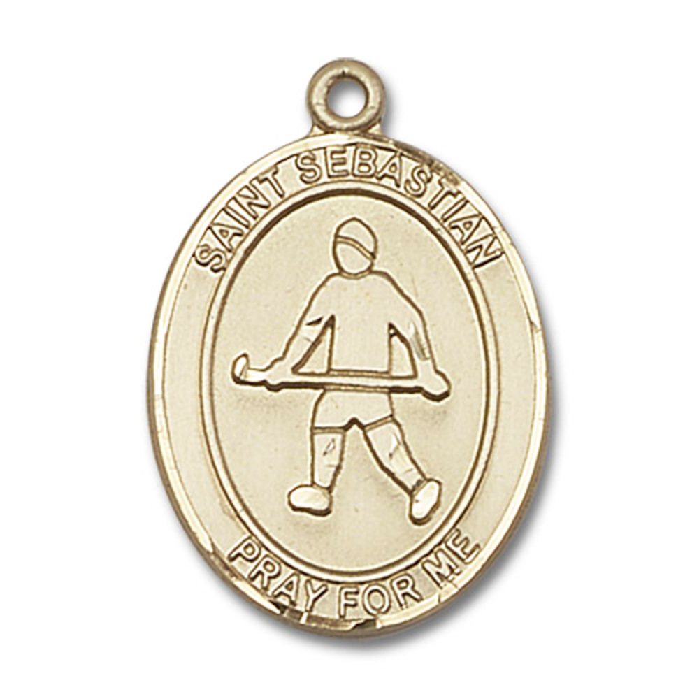 14kt Yellow Gold St. Sebastian Field Hockey Medal 1 x 3 4 inches by