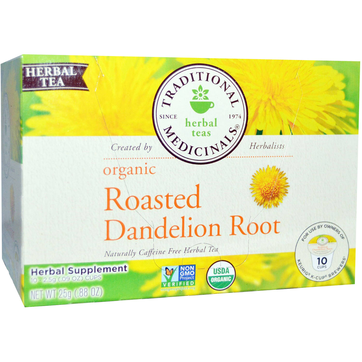 Traditional Medicinals Organic Roasted Dandelion Root Tea K - Cups, 10 count, (Pack of 3)