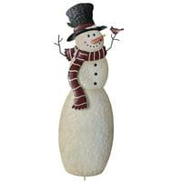 Christmas Snowmen Outdoor Metal Garden Stakes - 3D Seasonal Decor, Each Sold Separately