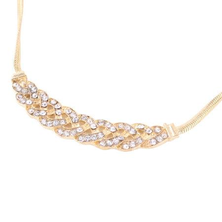 Women Metal Braid Design Neck Decor Pendant Necklace Gold Tone Silver Tone - image 1 of 3