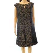 tahari by asl new gold black women's size 10 leopard keyhole shift dress $138