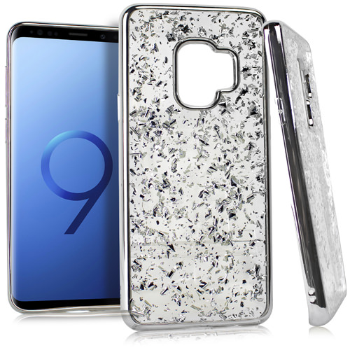 MUNDAZE Silver Chrome Glitter Flakes Case For Samsung Galaxy S9 Phone