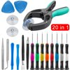 EEEkit 20 in 1 Cellphone Mobile Phone Screen Opening Repair Tools Kit Screwdriver Set for iPhone X/8 Plus/7/6S iPad Mini/Air Package Includes: 1 x 0.8 Star Screwdriver1 x 1.2 Cross Head Screwdriver1 x 1.2 Star Screwdriver1 x 1.5 Cross Head Screwdriver1 x 2.0 Flathead Screwdriver1 x T4 Torx Screwdriver1 x T5 Torx Screwdriver1 x T6 Torx Screwdriver1 x Straight Tweezers1 x Curved Tweezers2 x Scrapers2 x Pry opening tools2 x Triangle Paddle1 x Nylon Spudger1 x Screen Opening Pliers 2 x Suction Cup30 Day Money Back Guaranteed! 12-month free replacement warranty for manufacturer's defects!Product Description:Tools made of steel and plastic. Rotating ends and rubberized grips allow you to use the screwdrivers without having to reposition your hand or adjust your grip. The grips are color-coded and labeled, making locating the right one simpler.4 different wedge tools give you the ability to safely pry open your devices without sacrificing your fingers or device components.Both tweezers included in the repair kit safely allow you to hold onto small parts and components without the risk of electrical charge or zapping of the component or part.Compatible with Apple iPhone X / 8 / 8 Plus / 7 / 7 Plus / 6S Plus / 6S / 6 Plus / 6 / 5S / 5c / 5 / 4S / 4 / SE. SpecificationMaterial: steel, plasticWeight: 8.4oz / 238g