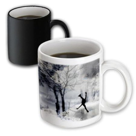 3dRose Figure Skater Silhouette Skating on a frozen pond in a beautiful winter snow scene, Magic Transforming Mug, 11oz
