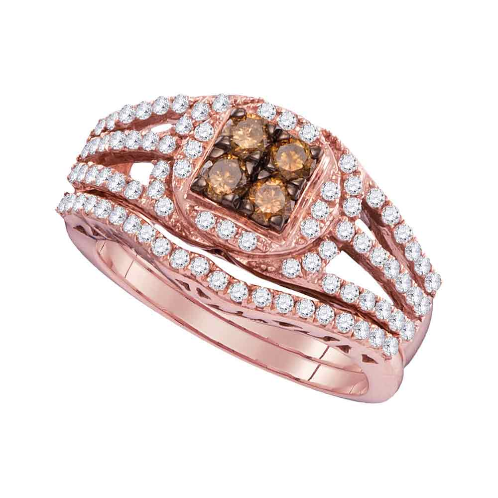 Size 7 10k Rose Gold Round Chocolate Brown Diamond Bridal Wedding Engagement Ring Band Set 1 Cttw by AA Jewels