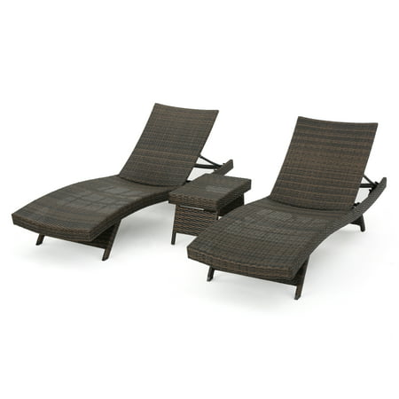 Outdoor Wicker Chaise Lounge With Aluminum Frame And Table