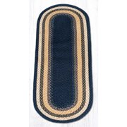 Earth Rugs 08-079 Lt. Blue-Dark Blue-Mustard Oval Rug