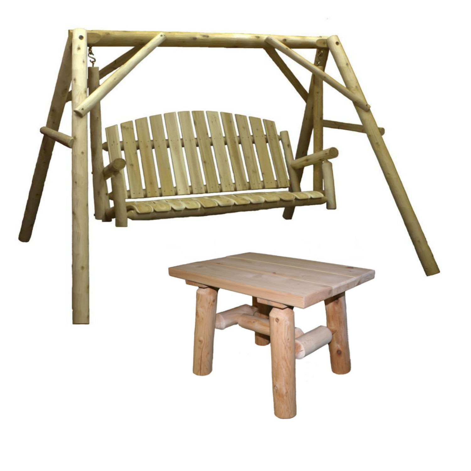 Lakeland Mills Country Cedar Outdoor Porch Swing and Stand Set with End Table