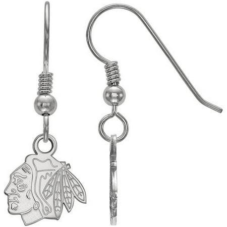 LogoArt NHL Chicago Blackhawks Sterling Silver Extra Small Dangle - Chicago Blackhawks Sterling Silver Earrings