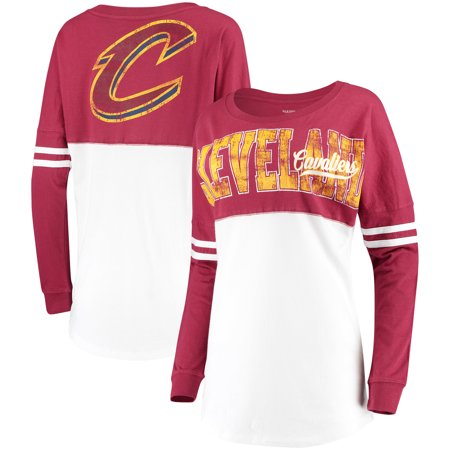 New Cavaliers Jersey (Cleveland Cavaliers New Era Women's Baby Jersey Stripe Spirit Long Sleeve T-Shirt - White/Wine)