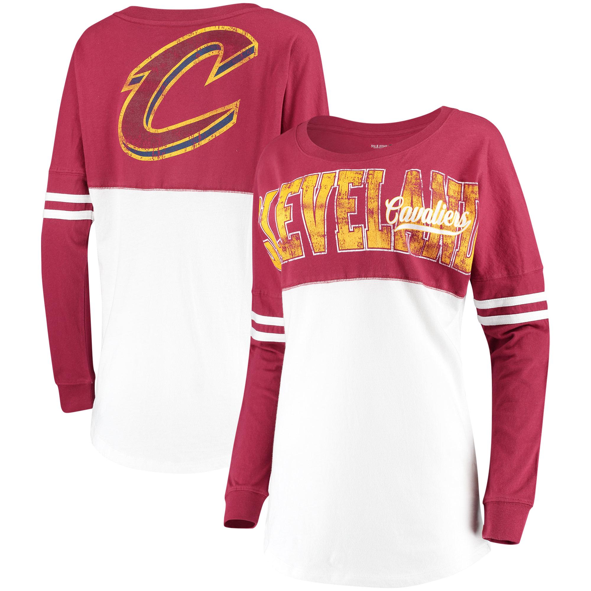 Cleveland Cavaliers New Era Women's Baby Jersey Stripe Spirit Long Sleeve T-Shirt - White/Wine