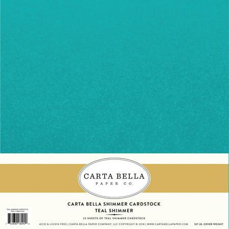 Carta Bella Designer Shimmer 107lb Cover Cardstock 12 X12 Teal