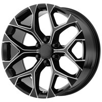 "Replica 176M GM Snowflake 24x10 6x5.5"" +31mm Black/Milled Wheel Rim 24 Inch"