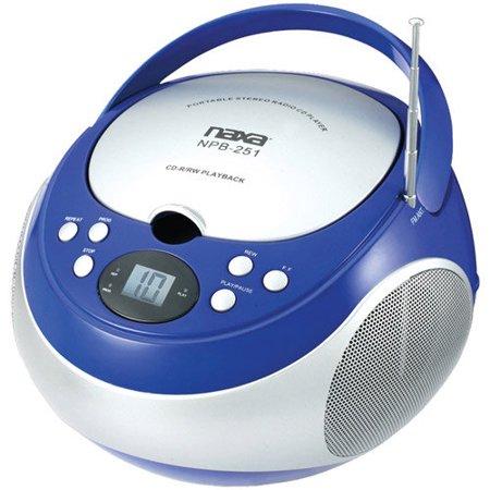 Naxa Portable CD Player with AM FM Radio, Blue, NPB251 by