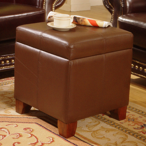 Lanza Leather Storage Ottoman