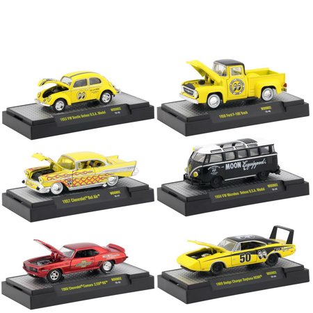 M2 Machines 1:64 Auto-Thentics Mooneyes 2018 Release 2, Set of 6 Diecast Cars, Chevrolet Dodge Ford VW ()