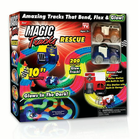As Seen on TV Magic Tracks Rescue Set with track, fire and police station, and fire and police car - 200pc
