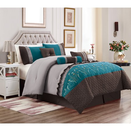 Embroidery Patchwork Comforter (Unique Home Marcia 7 Piece Patchwork Embroidery Clearance Comforter Set Fade Resistant, Wrinkle Free, No Ironing Necessary, Super Soft (King, Teal/Coffee/Gray))