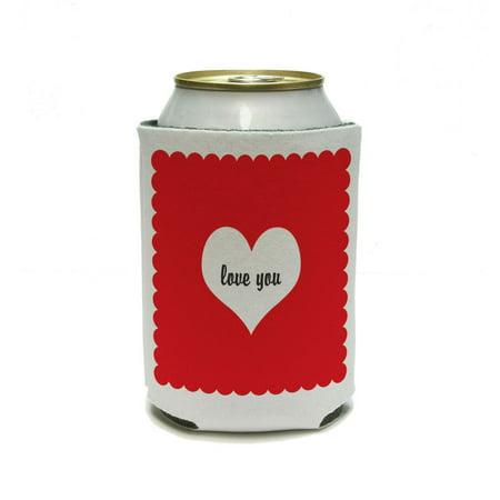 Love You Heart - Wedding Bridal Shower Valentines Can Cooler Drink Insulator Beverage Insulated - Valentine Drinks
