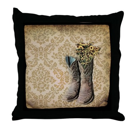 Western Throw Pillows (CafePress - Cowboy Boots Damask Western Country - Decor Throw Pillow)