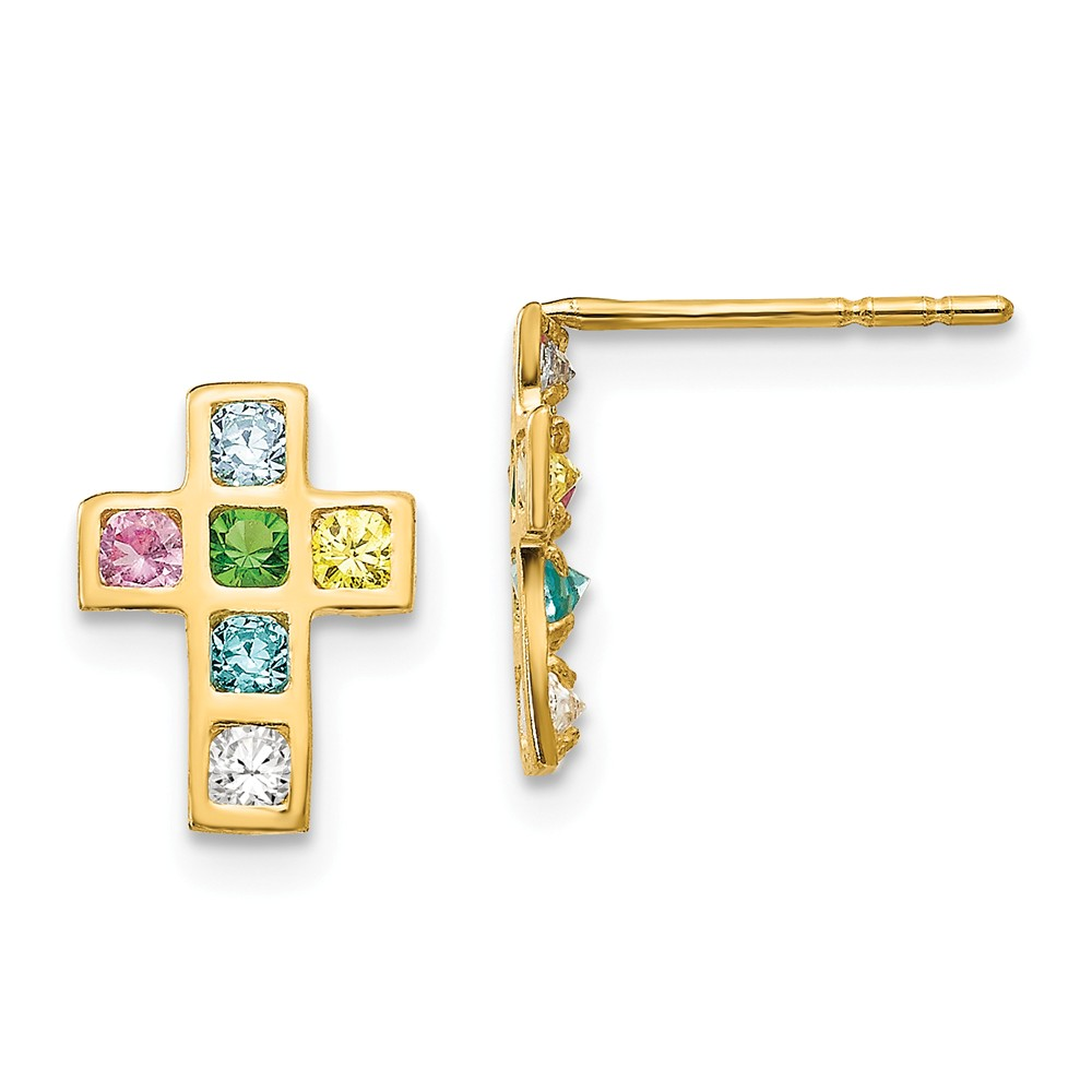 14k Yellow Gold Childs Multi-colored CZ Cross Post Earrings w/ Gift Box. (10MM Long x 8MM Wide)