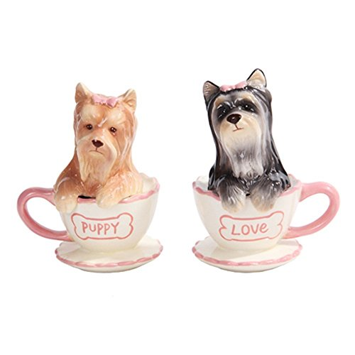 Pacific Trading Yorkie in Tea Cup Yorkshire Terriers Salt and Pepper Shakers Set