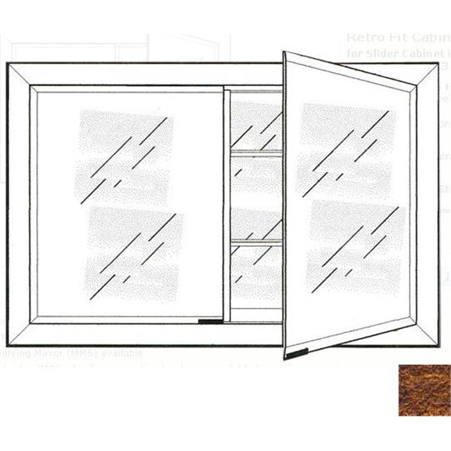 Afina Corporation DD2721RTRICO 27 in.x 21 in.Recessed Double Door Cabinet - Tribeca Hammered Copper