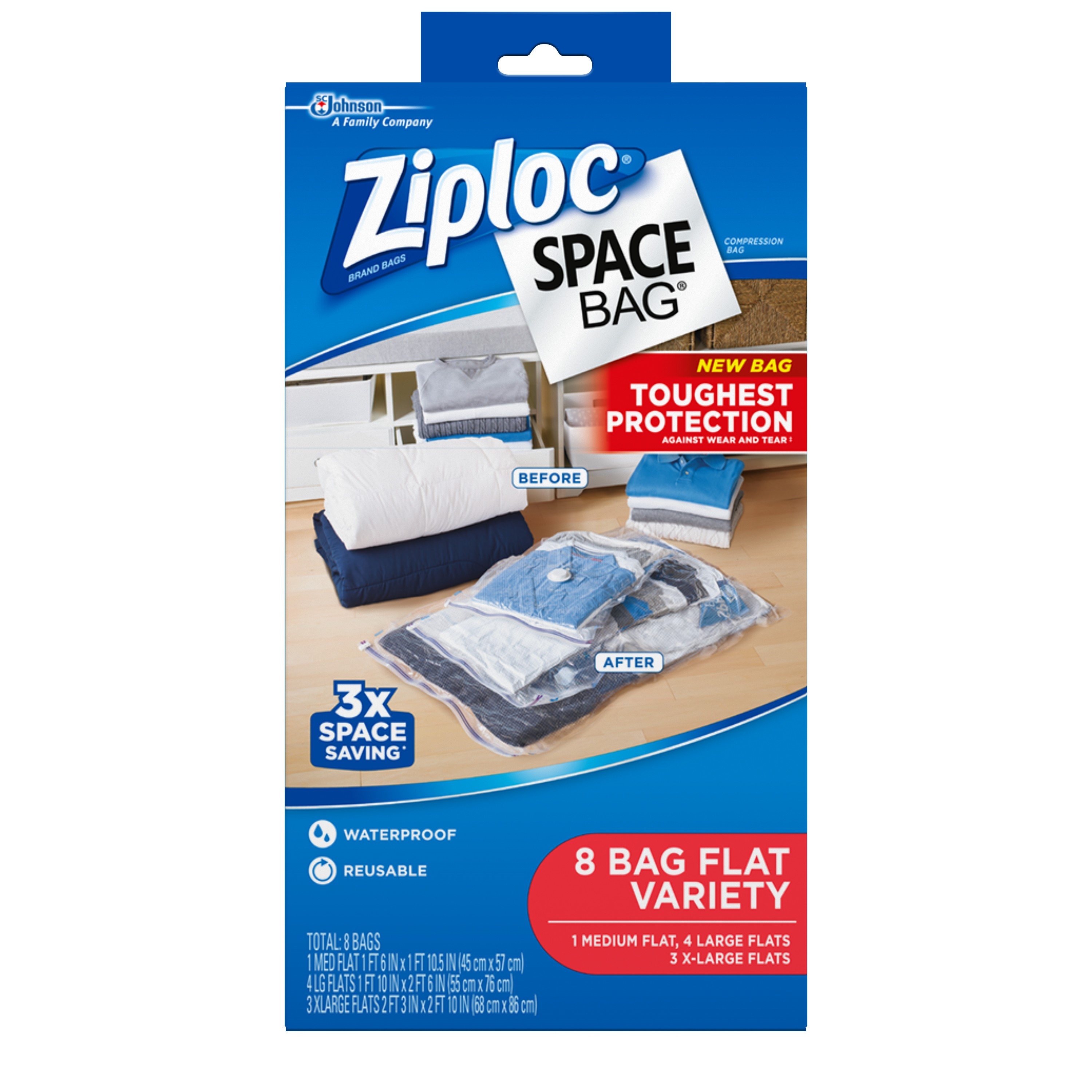 Ziploc Space Bag Variety Pack Flats 8 count (3 XL, 4L, 1M)