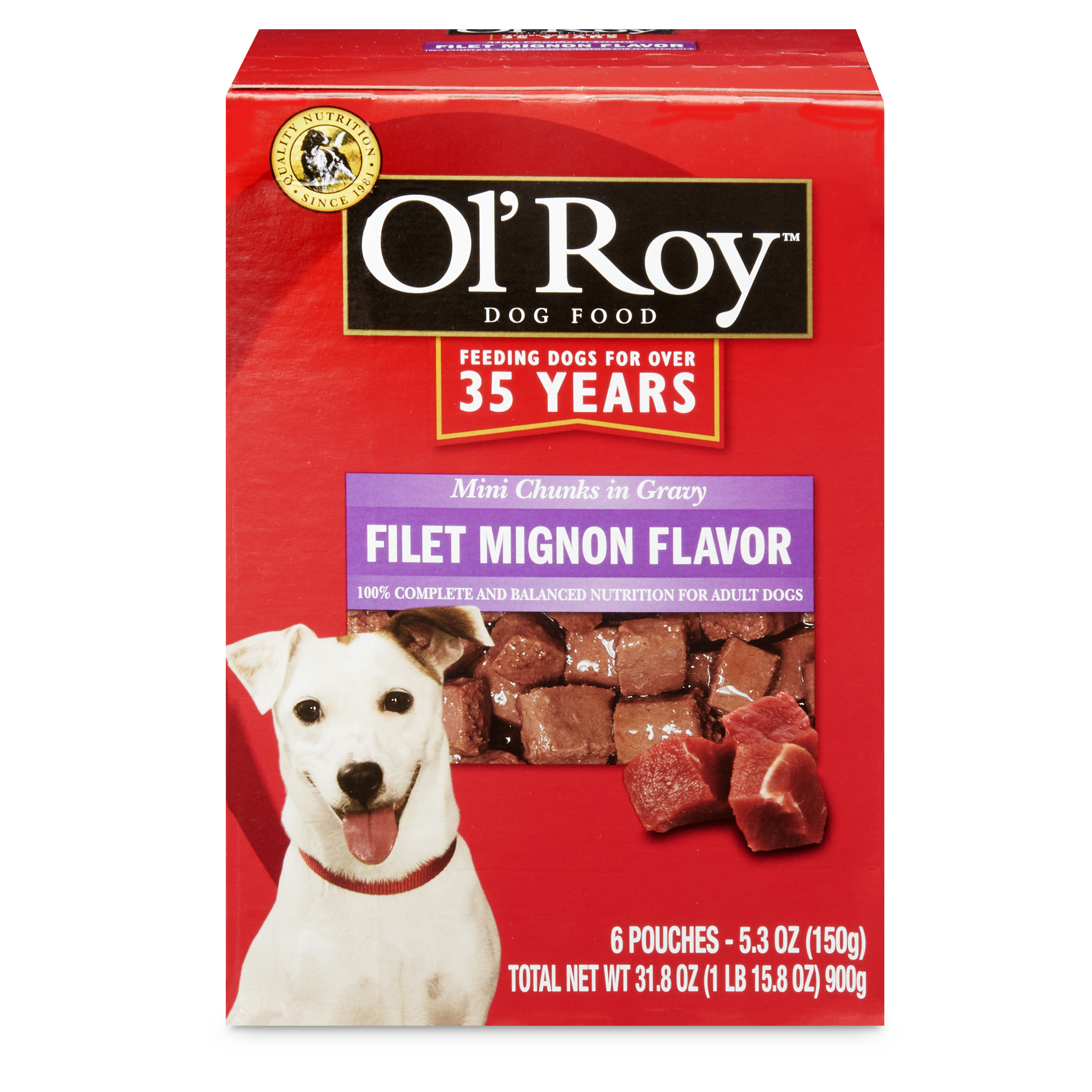 Ol' Roy Mini Chunks in Gravy Wet Dog Food, Filet Mignon Flavor, 31.8 oz, 6 Count, 3 Pack