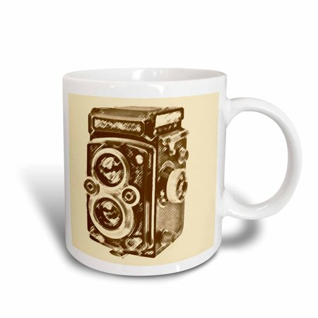 3dRose Picture of a Vintage Twin Lens reflex TLR camera, Ceramic Mug, 11-ounce