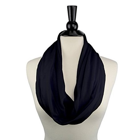 Scarf With Pockets - Solid Color Infinity Scarf for Women with Zipper Storage Pocket
