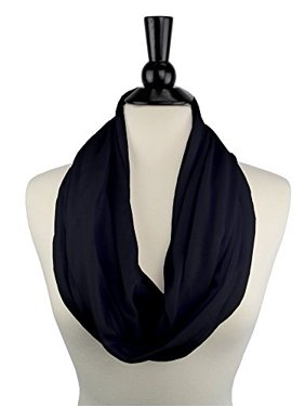 Solid Color Infinity Scarf for Women with Zipper Storage Pocket