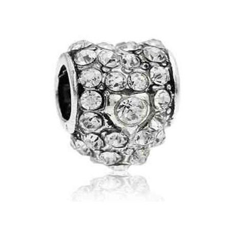- Clear  Crystals Pave Heart Charm European Bead Compatible for Most European Snake Chain Bracelet