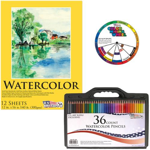 "US Art Supply 36 Piece Water Soluble Colored Pencil Set with 12""x16"" Premium... by US Art Supply"