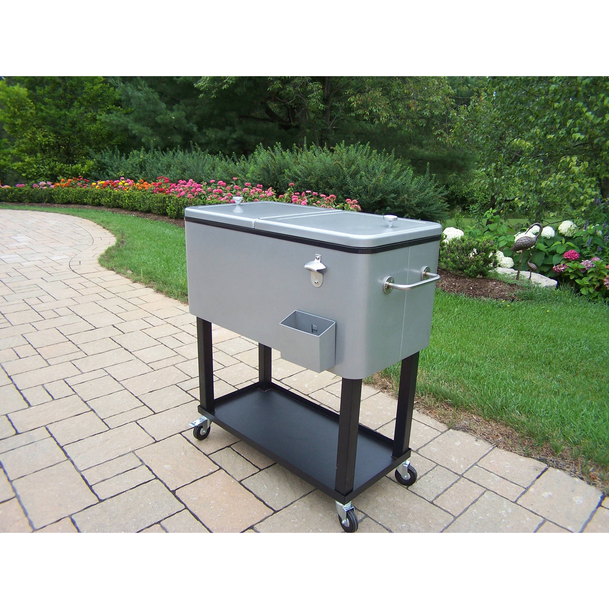 rolling quart bhp cooler black chest ice portable ebay outdoor coolers party patio cart steel