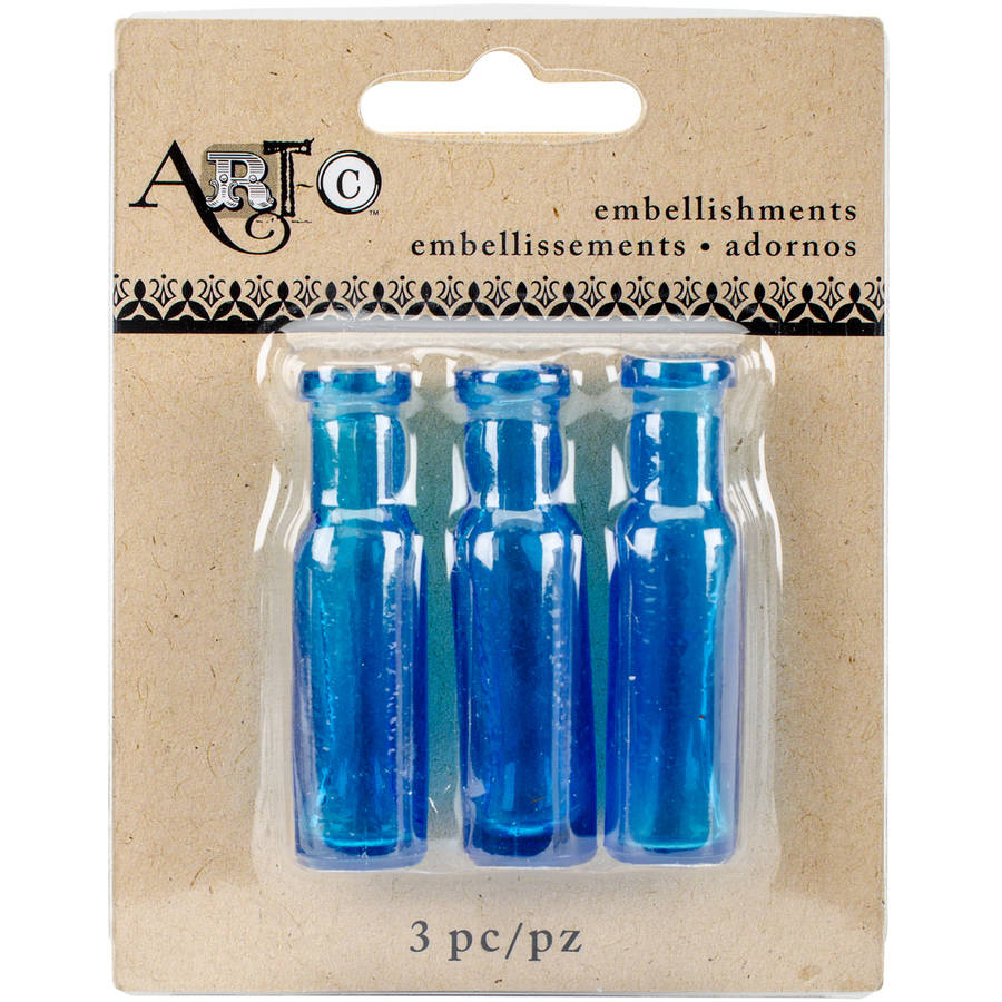 Art-C Mini Glass Bottles, Blue Tiny Champagne, 3pk