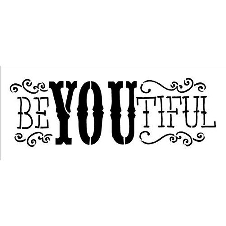 Be-YOU-Tiful Stencil by StudioR12 | Fun Fancy Word Art - Mini 8.5 x 3-inch Reusable Mylar Template | Painting, Chalk, Mixed Media | Use for Journaling, DIY Home Decor -