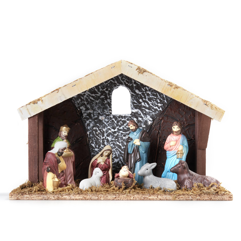 Holiday Time 11pcs Plaster Nativity Set