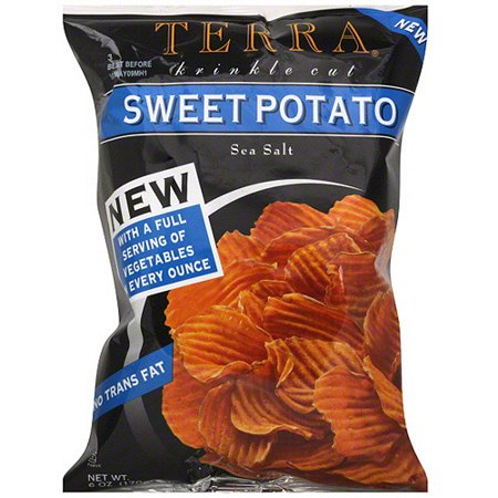 Terra Krinkle Cut Sweet Potato Sea Salt Potato Chips  6 Oz  Pack Of 12