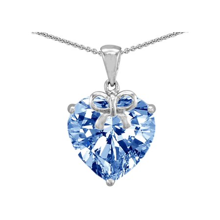 Star K Large Heart Shape Simulated Aquamarine Ribbon Heart Pendant Necklace in Sterling Silver