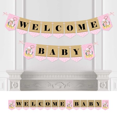 Little Cowgirl Baby Shower Bunting Banner Western Party Decorations Welcome Baby