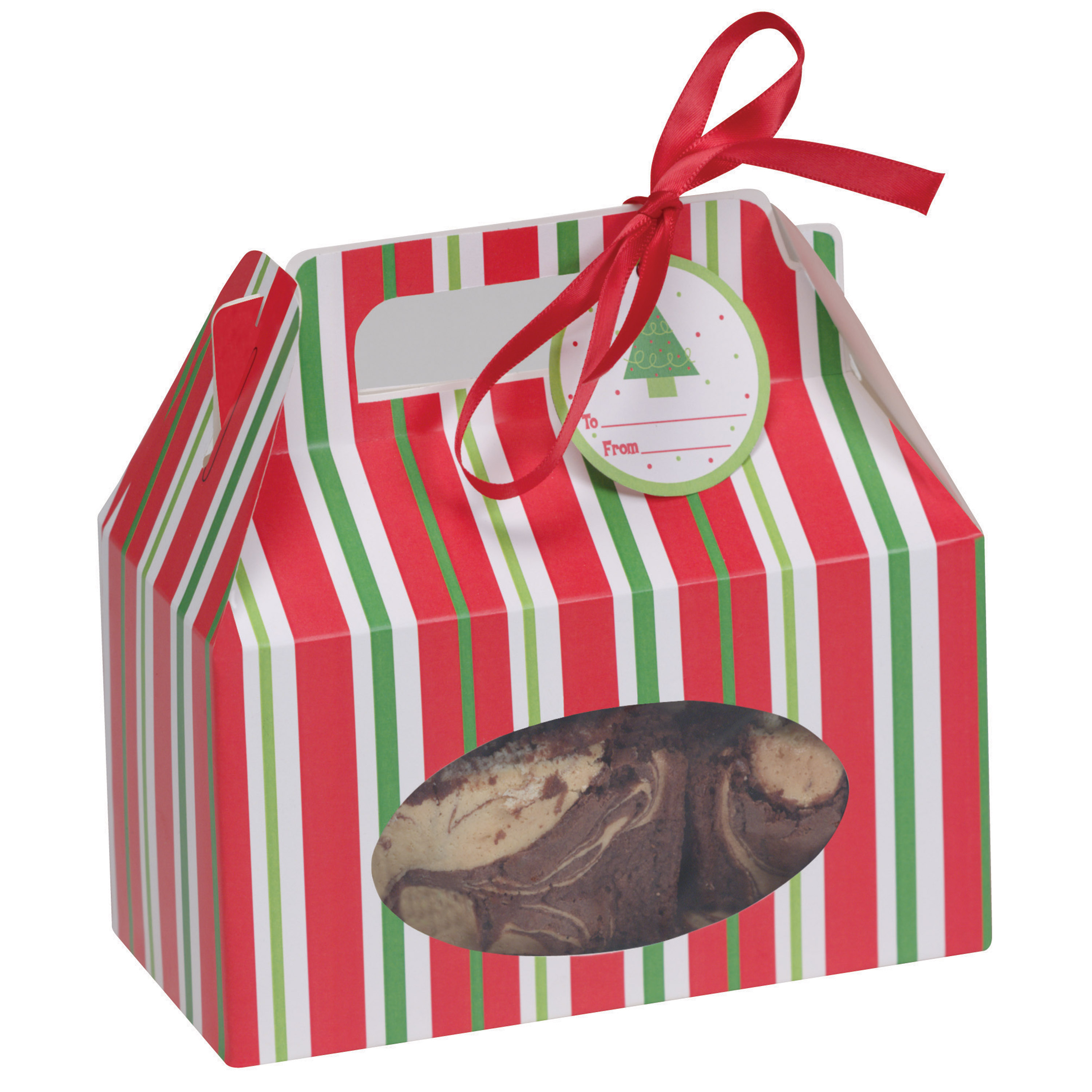 Red & Green Striped Cookie Box, 4 pack