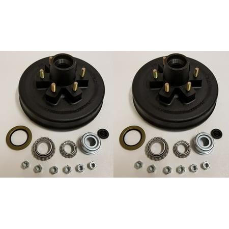 Brake Drum Seal Kit - 2-Pk 12 in. x 2 Trailer Brake Hub Drum Kit w/Bearings Seal Cap Lugs (6 on 5.5)