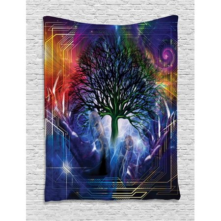 Nature Tapestry, Human Hand Grabs a Leafless Tree Vitality Symbol Modern Hippie Karma Artisan Theme, Wall Hanging for Bedroom Living Room Dorm Decor, Blue Purple, by Ambesonne