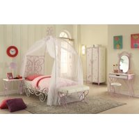 Full Bed with Canopy, White & Purple